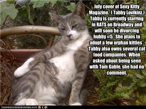 July cover of Sexy Kitty Magazine. ( Tabby Lovikinz.) Tabby is currently starring in RATS on Broadway and will soon be divorcing hubby #5. She plans to adopt a few orphan kitties . Tabby also owns several cat food companies. When asked about being seen with Tom Gable, she had no comment.