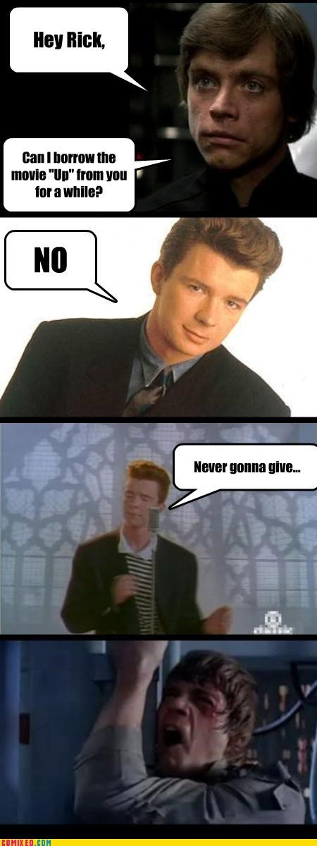 luke skywalker,pixar,rick astley,rick roll,star wars,the internets,up