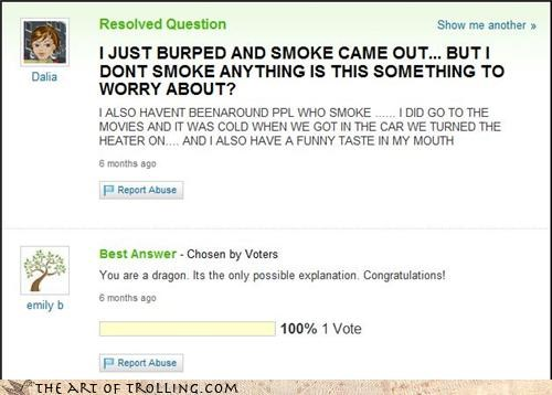 biology burp dragon rawr smoke Yahoo Answer Fails - 3742359552