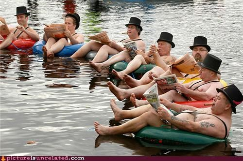 floating,gentleman,lake,proper,reading,top hats,wtf