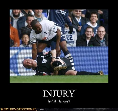 fake injury just-kidding-relax laughing ouch pain soccer sports
