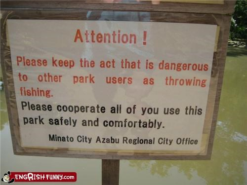 fish parks signs users warnings