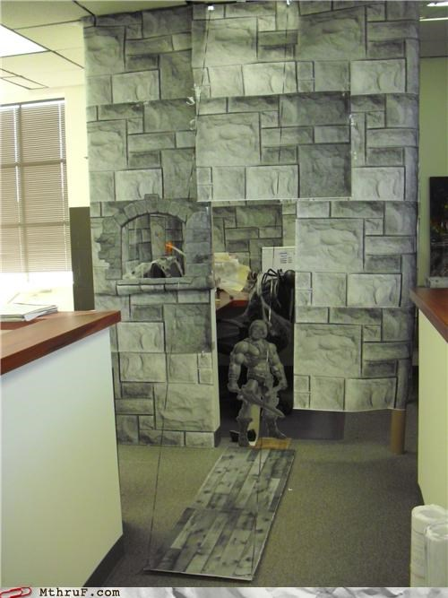 arts and crafts awesome awesome co-workers not boredom castle clever creativity in the workplace cubicle boredom cubicle decor decoration dorky dungeons and dragons ergonomics medieval nerd ridiculous sculpture wasteful wrapping - 3746697728