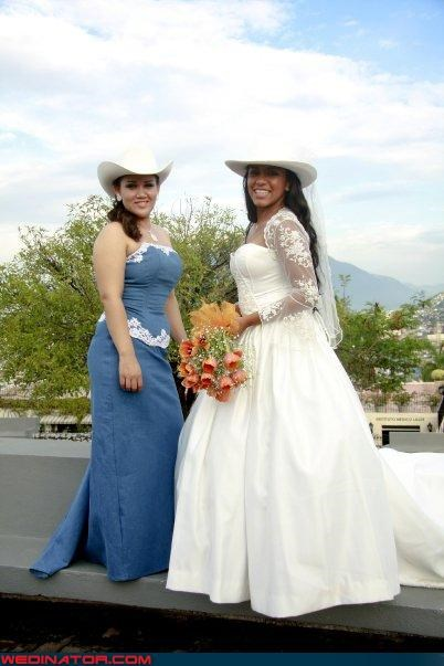 bride bride in cowboy boots bridesmaid denim dress cowboy boots cowboy hat cowgirl bride fashion is my passion Funny Wedding Photo jean dress ranchero bridesmaids Wedding Themes - 3747079936