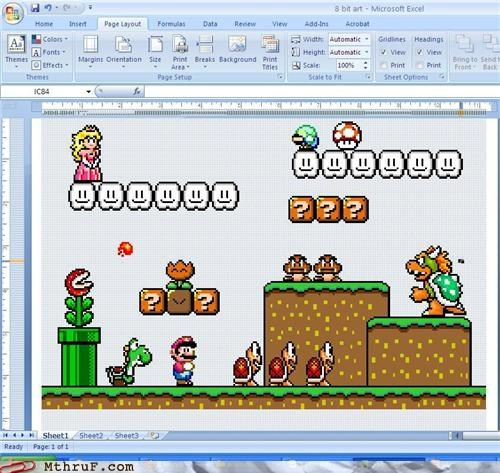 art,awesome,boredom,bowser,classic video game,clever,creativity in the workplace,cubicle boredom,decoration,dedication,dumb,excel,Fan Art,idiocy,ingenuity,just stop,kill yourself,luigi,mario,mario brothers,nintendo,no no no,paint by number,pixel art,pointless,princess peach,Sad,spreadsheet,stop it,teeth,toad,video game,video game reference,video games,wasted effort,wasteful,yoshi