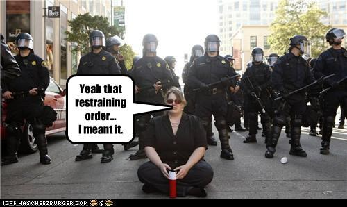 cops,funny,lady,lolz,police,Protest