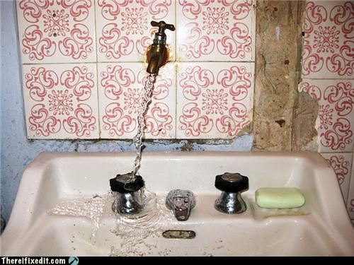 bathroom,faucet,Kludge,sorta works,water,whoops