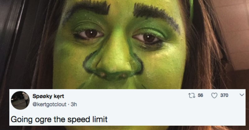 Woman in Shrek makeup gets trolled hard after her reckless driving stunt.