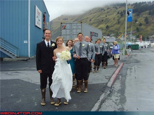 Crazy Brides crazy groom fashion is my passion funny wedding picture gumboots sailor wedding seafood buffet single file line surprise technical difficulties the happy couple were-in-love wedding party wellies wet wedding