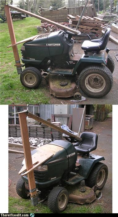 2x4,awesome,fixed,Kludge,lawnmower,puns,riding