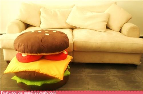 cheeseburgers,cute-kawaii-stuff,hamburger pillow,Pillow,pillows