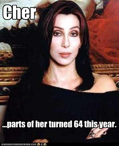 Cher ...parts of her turned 64 this year.