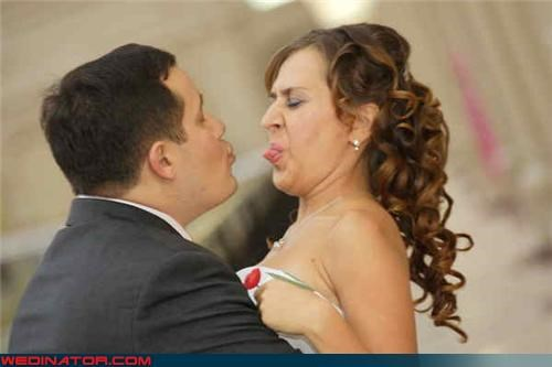 couple-shouldnt-have-gotten-married Crazy Brides crazy groom eww fashion is my passion forever funny wedding picture grossed out bride miscellaneous-oops newly-married surprise technical difficulties tongue sticking out wtf - 3752692736