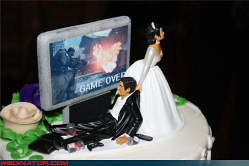 bridezilla,cake topper,Crazy Brides,crazy groom,domineering wife,Dreamcake,funny cake topper,funny wedding cake,game over,marriage side effect,red bull,stereotype,surprise,technical difficulties,video game,Wedding Themes,wtf