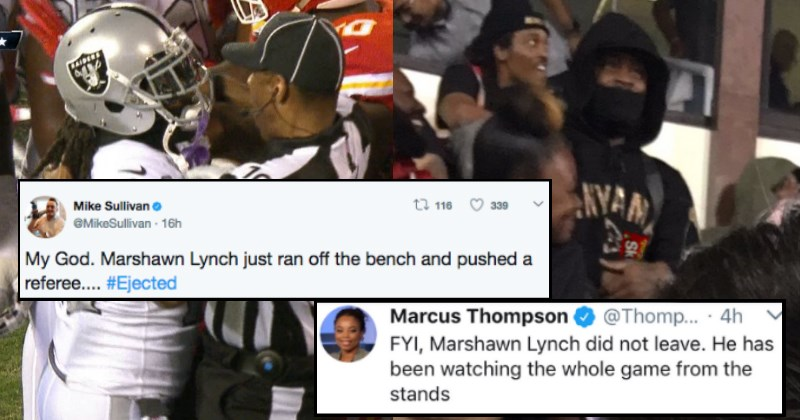Stealthy Marshawn Lynch Gets Ejected and Watches Game From Stands
