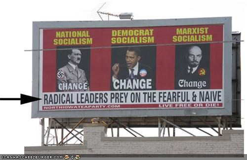 Ad,adolf hitler,barack obama,billboard,funny,marketing,tea party,vladimir lenin