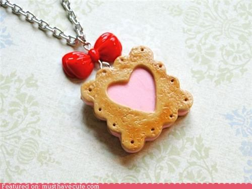 accessory bow chain ice cream sandwich Jewelry miniature necklace pendant pink Teeny - 3754926336