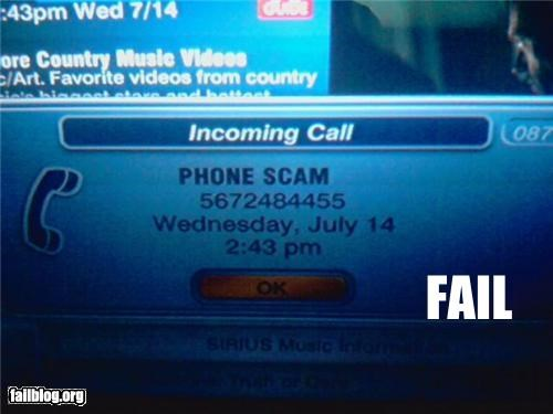 Obvious Phone Scam?? This showed up on my caller ID. Fail? I think so!