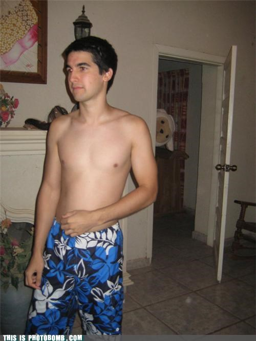 photobomb shirtless dude swim trunks wtf - 3755368704