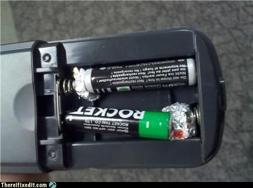 AAA batteries batteries Kludge remote tin foil