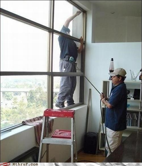 corner office cubicle fail dangerous darwin awards derp dumb dummy foolish hardware harness idiot ingenuity lava lamp lazy morons osha risky rope rope harness unsafe window washer window washing work smarter not harder