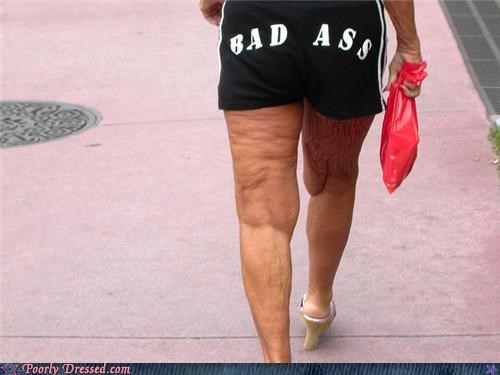 heels,short shorts,the elderly,words