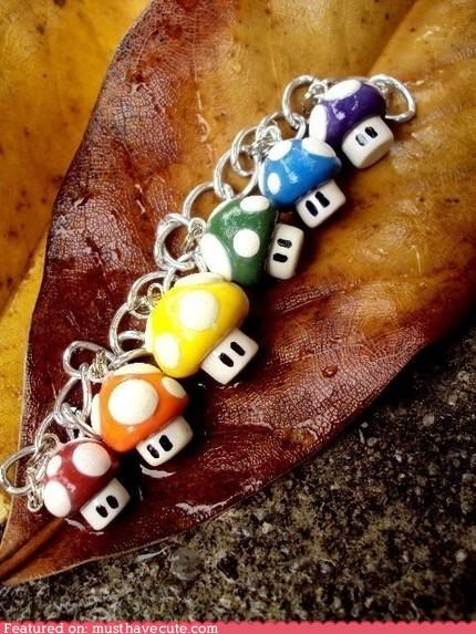 accessory art bracelet craft cute-kawaii-stuff geeky Jewelry mario Mushrooms nintendo video games - 3765604096