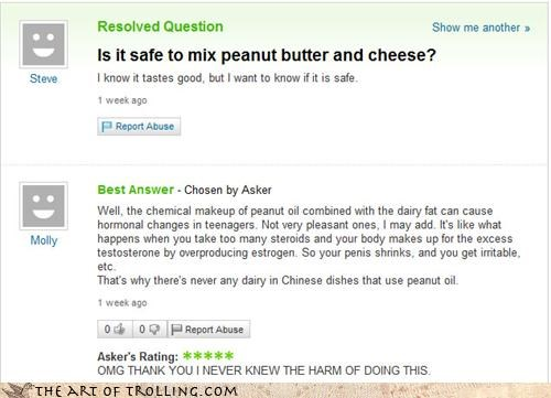 cheese,chemical reaction,peanut butter,science,Yahoo Answer Fails