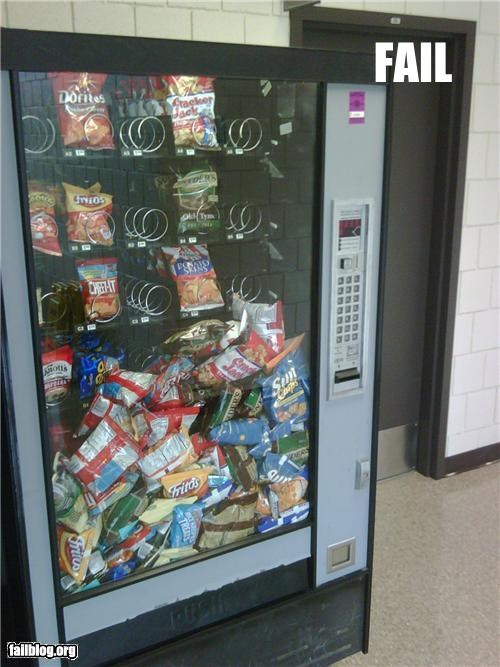 failboat filled nom nom nom snacks vending machine
