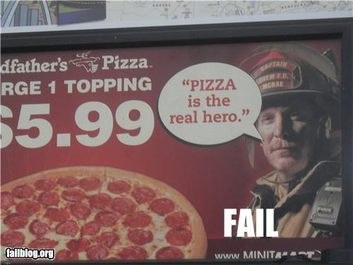 advertising failboat g rated hero pizza sign - 3770894080