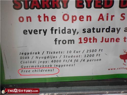 children free menus signs - 3771056128