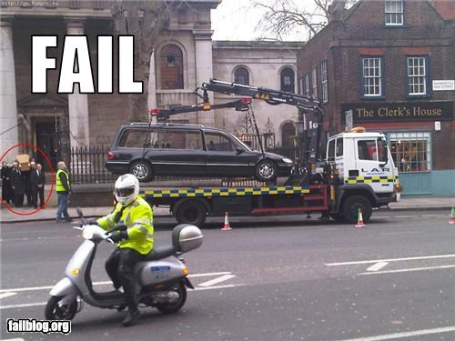 Awkward Moment,bike,coffin,Death,failboat,funeral,herse,towing,trucks,vehicle