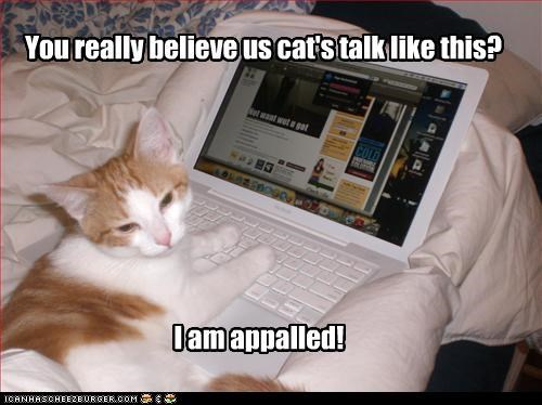You really believe us cat's talk like this? I am appalled!