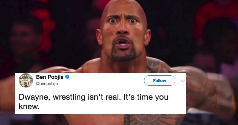 Dwayne Johnson completely destroys guy on Twitter who tries to troll him by telling him wrestling isn't real.