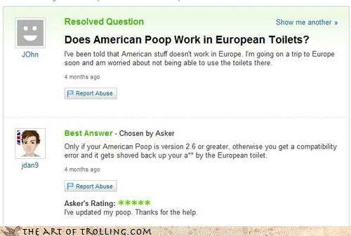 america,bathroom,europe,hygiene,Yahoo Answer Fails