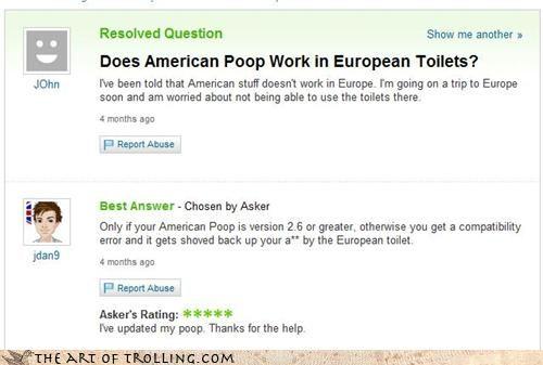 america bathroom europe hygiene Yahoo Answer Fails - 3773879808