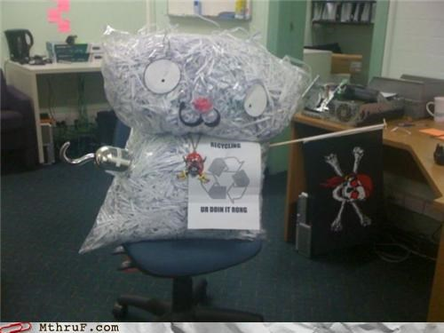 anthropomorphic arts and crafts bags boredom creativity in the workplace cubicle boredom decoration derp hardware hook jolly roger mess personification Pirate recycle Recycled recycling sculpture shredded shredded paper skull and crossbones wiseass