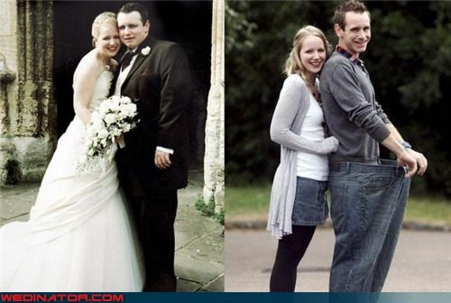 before and after wedding picture,bride,crazy wedding picture,extreme weight loss,fashion is my passion,fountain of youth,funny wedding picture,groom,groom lost weight,psa,side-by-side comparison,surprise,the happy couple,were-in-love,weight watchers,wtf