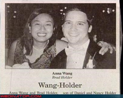 bride,eww,funny newspaper wedding announcement,funny wedding announcement,groom,Jon Secada,meant to be,miscellaneous-oops,surprise,unfortunate last names,wang holder,were-in-love,Wedding Announcement