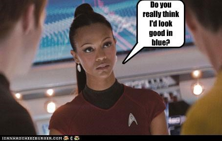 bruce greenwood,celebrity-pictures-zoe-saldana-good-in-blue,chris pine,ROFlash,sci fi,Star Trek,Zachary Quinto,zoe saldana