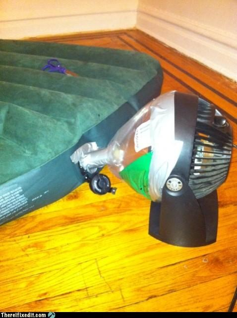 air pump,duct tape,fan,Kludge,mattress
