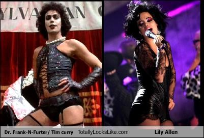 actors,dominatrix outfit,dr-frank-n-furter,Lily Allen,musicians,singers,Sweet Transvestite,tim curry