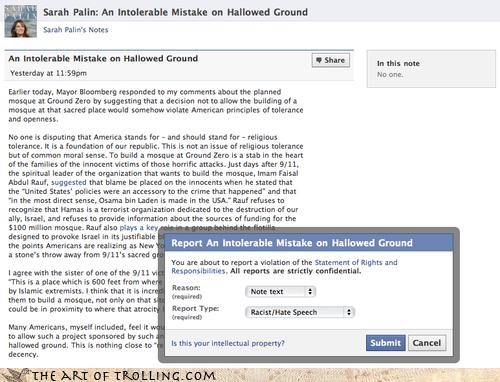 facebook hate speech palin politics rant reported - 3779287552