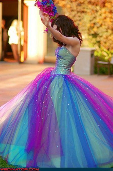 colorful bride colorful wedding dress Crazy Brides fashion is my passion funny wedding photos lisa frank Lisa Frank Wedding Dress matchy matchy tacky wedding dress ugly wedding dress Wedding Themes wtf