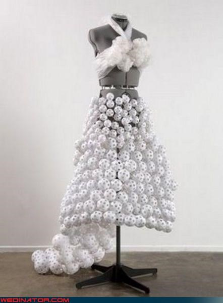 art,bride,Crazy Brides,crazy wedding dress,fashion is my passion,feminist dress,funny wedding photos,plastic wedding dress,technical difficulties,wiffle ball bridal gown,wiffle bride,wtf,wtf is this
