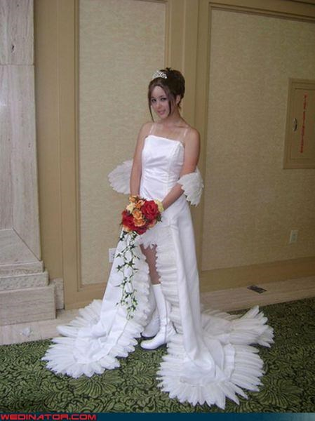 crazy bride Crazy Brides fashion is my passion funny wedding dress picture Funny Wedding Photo tacky bride tacky wedding dress tiara ugly wedding dress wedding dress has wings wedding dress looks like a bird white boots wtf