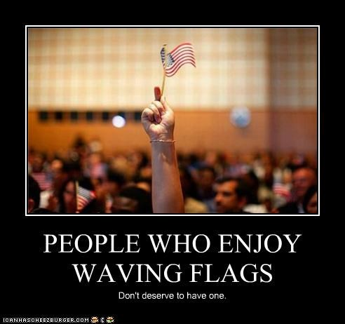 PEOPLE WHO ENJOY WAVING FLAGS Don't deserve to have one.