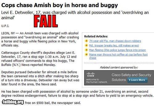amish bad idea boys buggies drunk driving failboat horses police Probably bad News - 3779626240