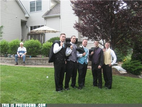 Good Times,group shot,lonely,old guy,prom,tuxedo