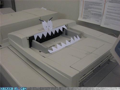 art boredom cartoons creativity in the workplace cubicle boredom decoration joke printer sculpture teeth wiseass work smarter not harder - 3780029184